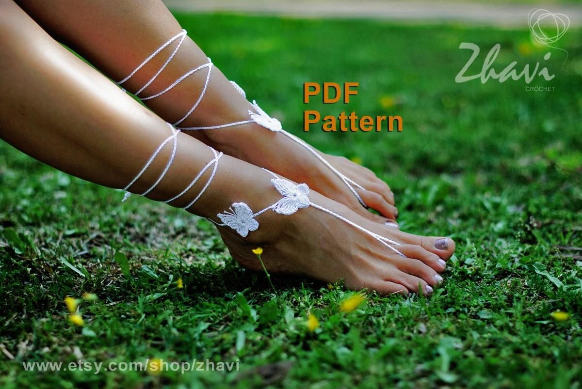 Easy Crochet Pattern Butterfly Barefoot Sandals