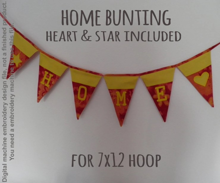 HOME bunting - 7x12 hoop - ITH - In The Hoop - Machine Embroidery Design File, digital download