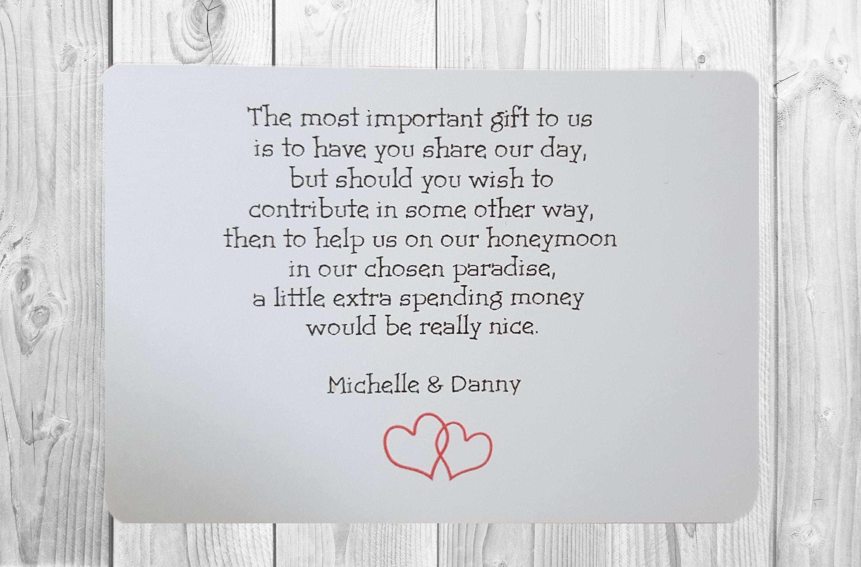 10 X Personalised Wedding Money Wish Poem / Gift Poem Cards