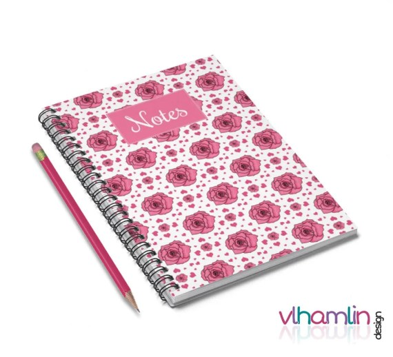 Roses & Hearts Notebook | VLHamlinDesign