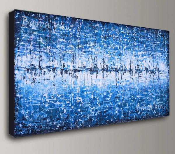 Blue Abstract Painting Acrylic Art White