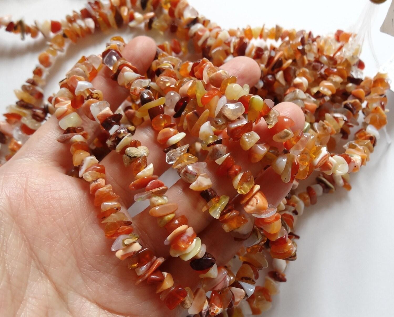 Grade Mexican Fire Opal Chips Hong Kong Beads 7-9 Mm Full