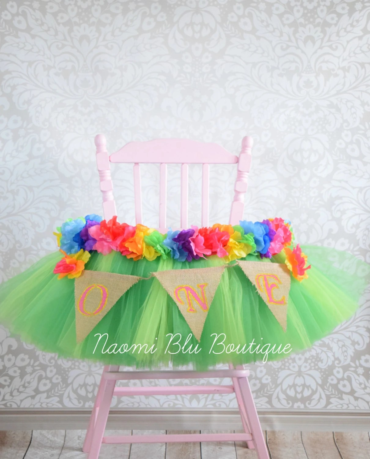 Hawaiian Chair Hawaiian Luau Grass Skirt Tutu High Chair For Birthday Hawaii