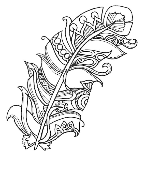 10 Fun and Funky Feather ColoringPages Original Art Coloring