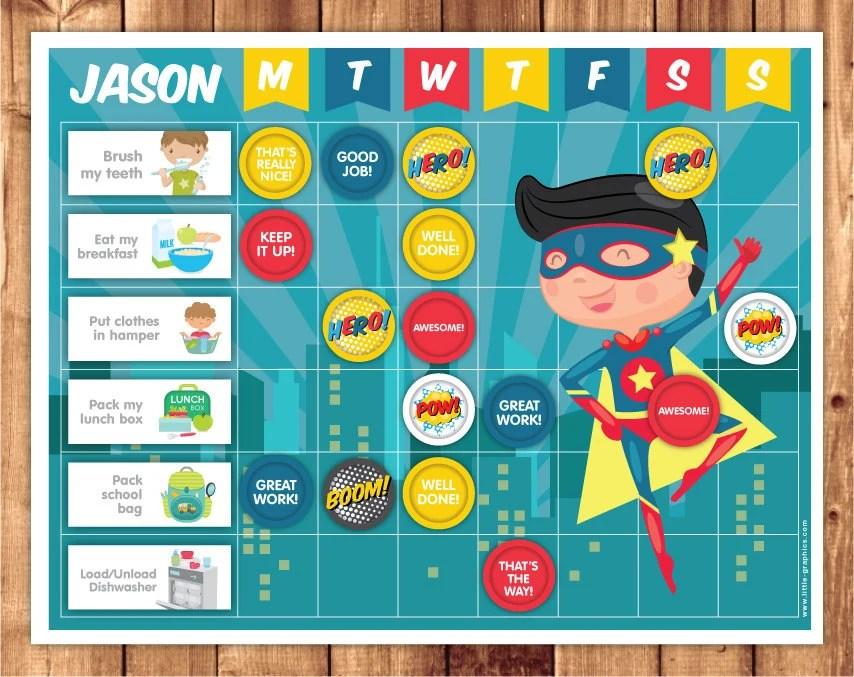 also superhero reward chart chore printable file rh etsy