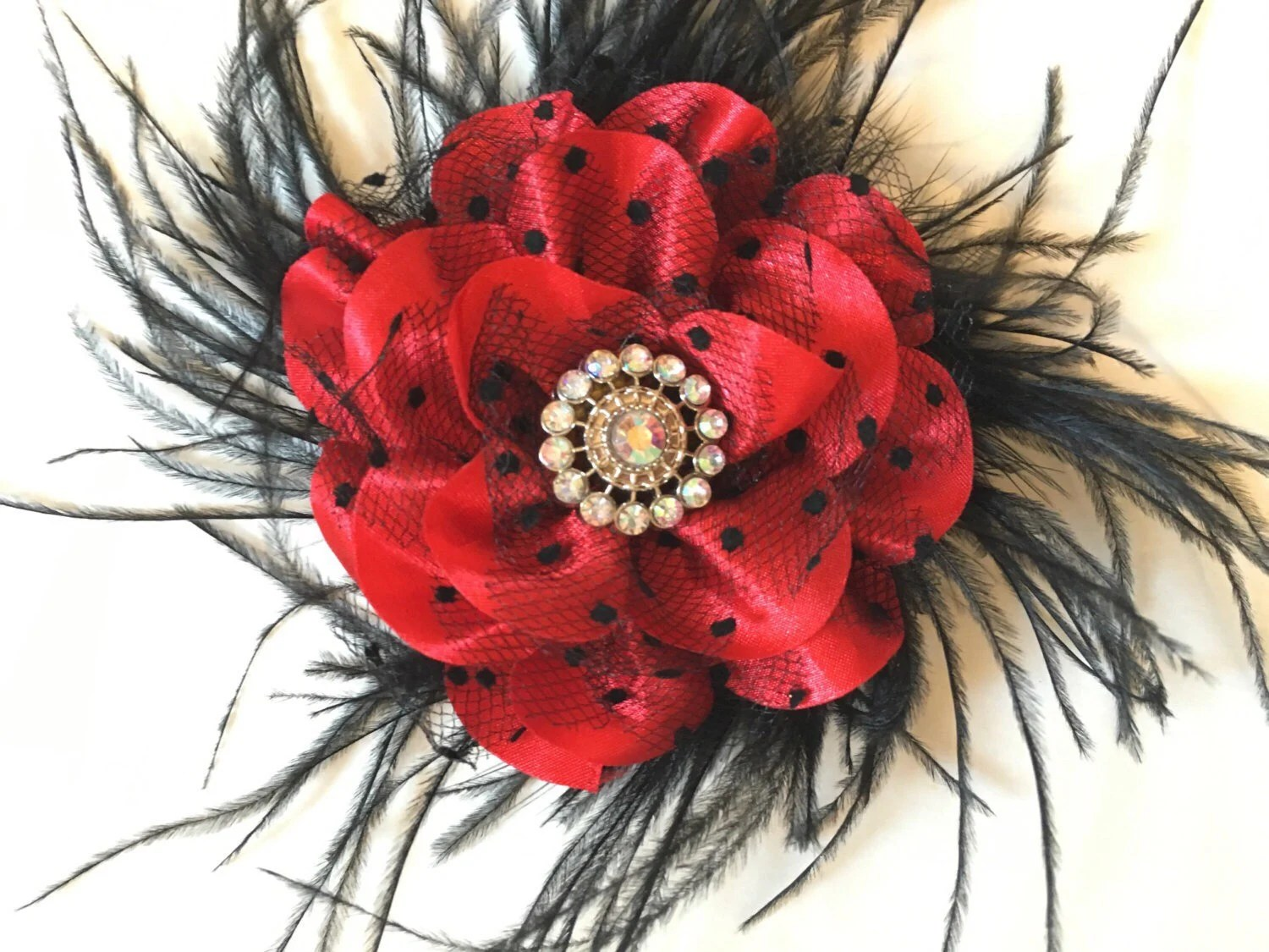 red and black flower hair clip