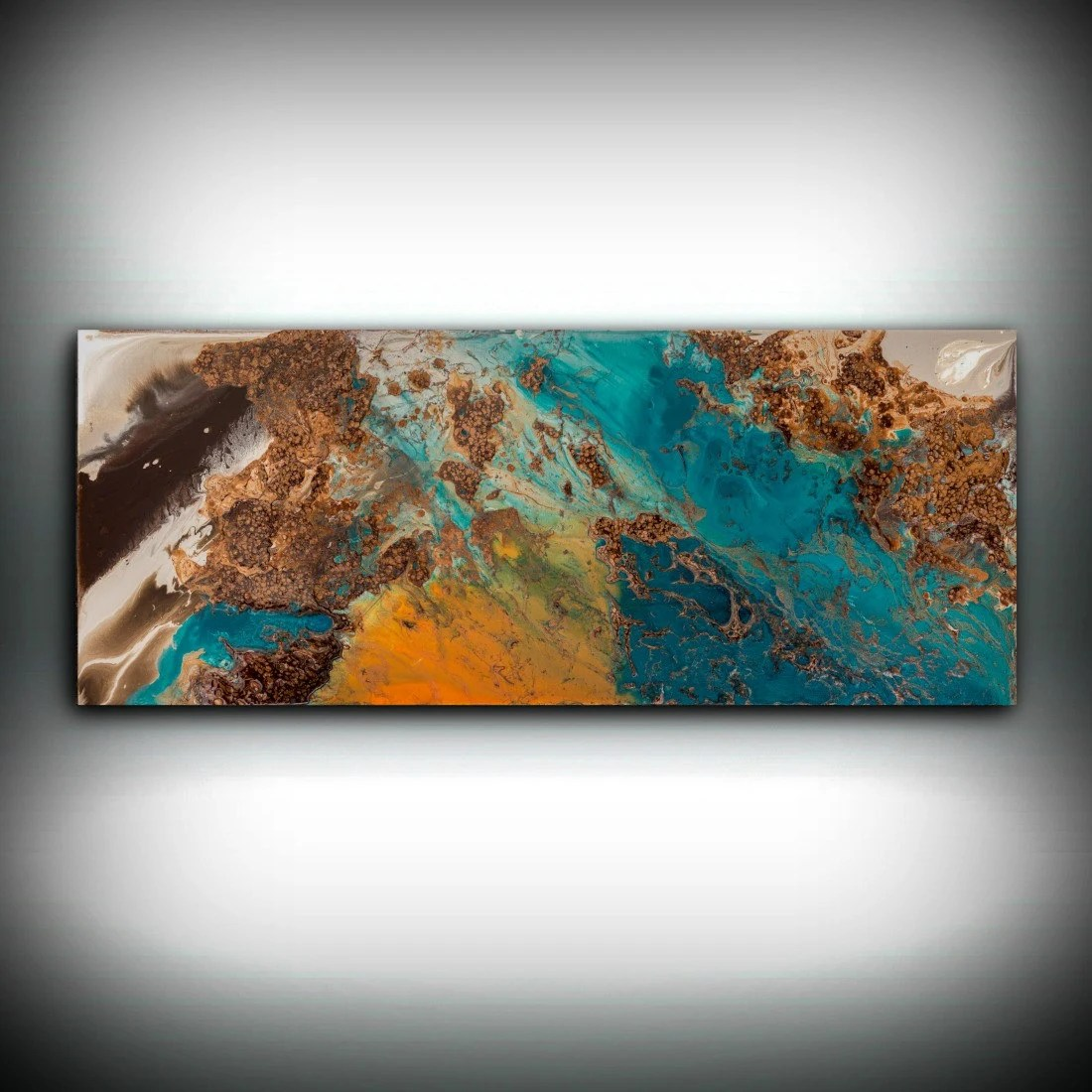 Blue And Copper Art Wall Prints Fine Abstract Painting Decor Print