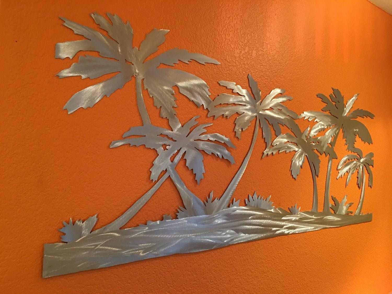Palm Trees On The Beach Metal Wall Art. Tropical Artwork