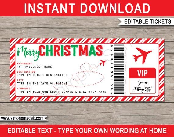 Christmas Gift Plane Ticket Surprise Trip Getaway