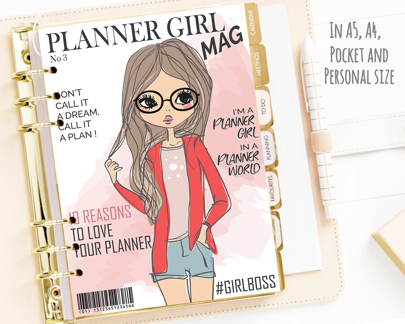 Printable Planner Girl Cover Magazine Dashboard Fashion Print