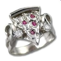 Sterling Silver Ladies Small Pizza Slice Ring Set with 4