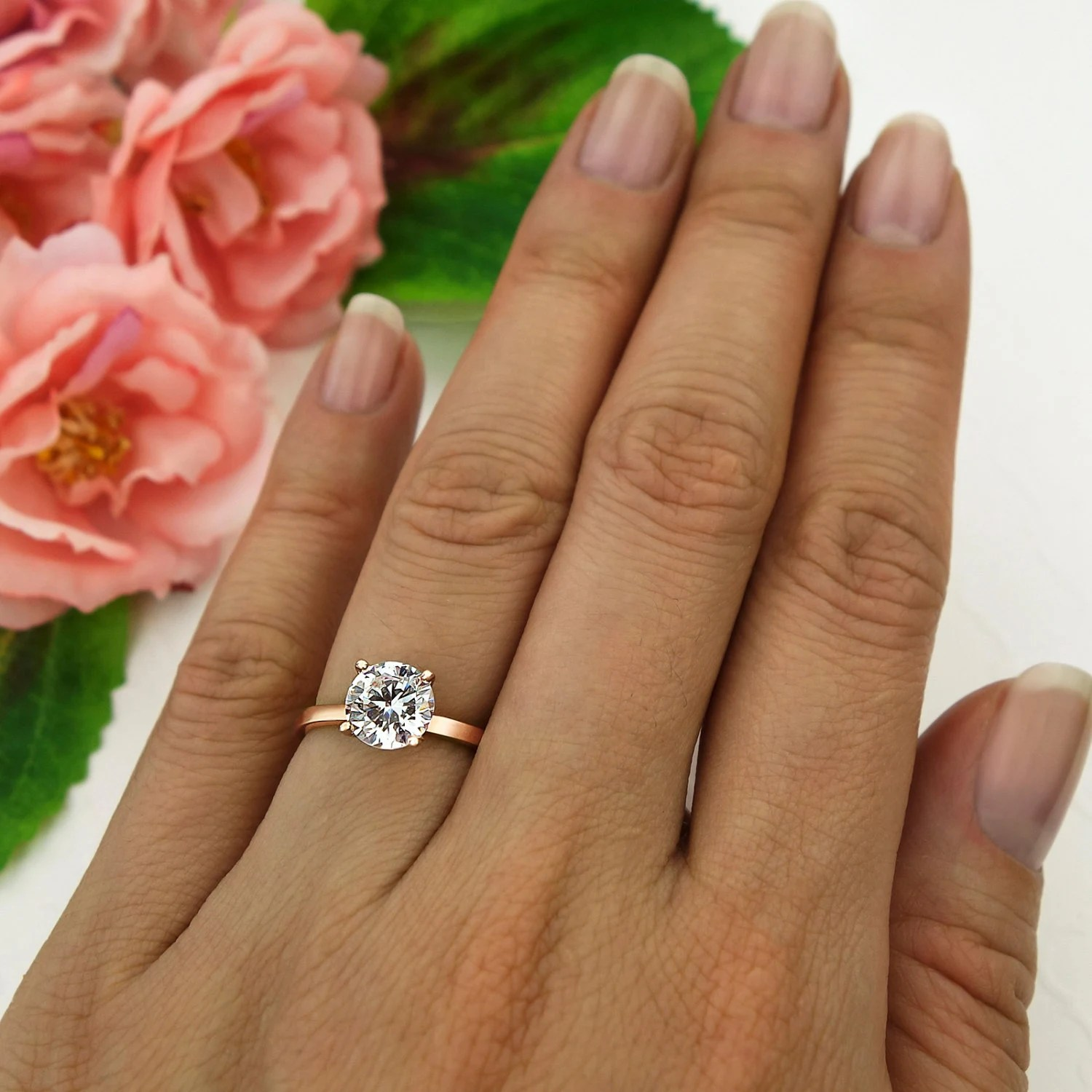 15 ct Engagement Ring Solitaire Ring Man Made Diamond