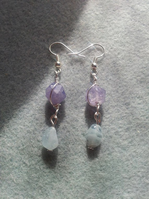 Blue Quartz and Aquamarine Earrings