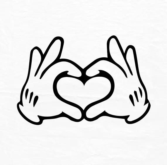 Download Glove Mouse Hand Heart Love Design Love SVG Disney Heart