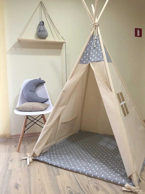 Kids nursery teepee cotton house Wood kids bed house