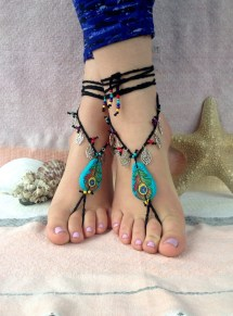 Barefoot Sandals Peacock Feather