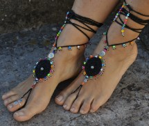 Gipsy Mandala Barefoot Sandals Black Foot Jewelry Hippie