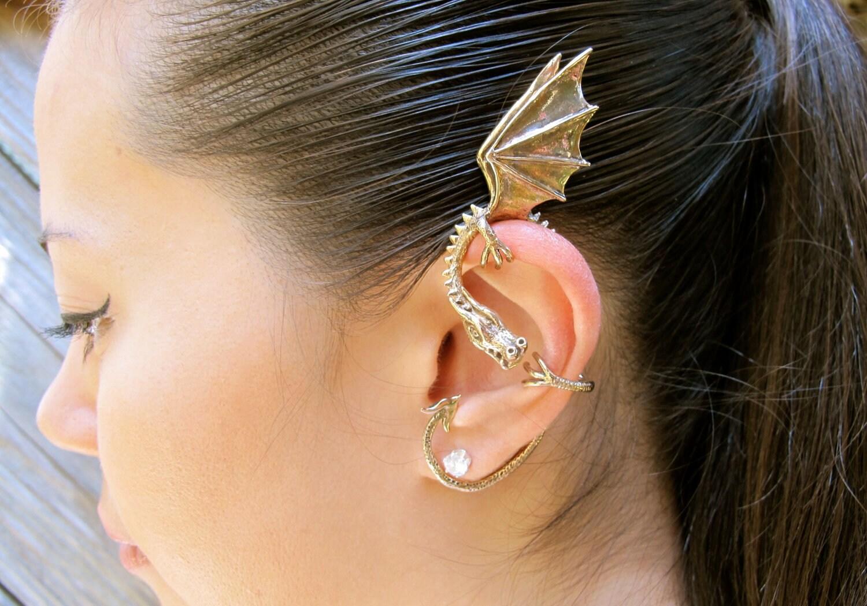 Dragon Ear Wrap Dragon Ear Cuff Elfin Dragon Ear Wrap Dragon