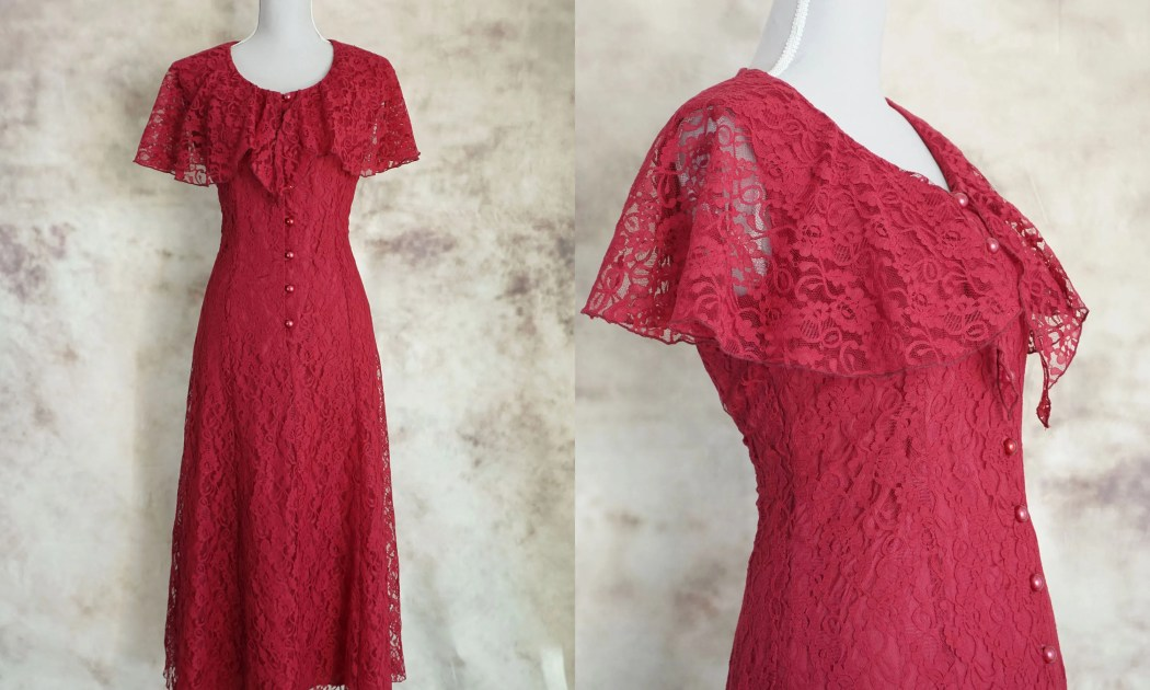 80s Victorian Dress, Red ...