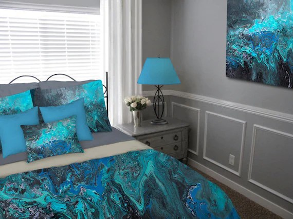 turquoise bohemian bedroom ideas Duvet Cover Teal turquoise blue black gray aqua Bohemian