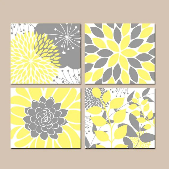 Yellow Gray Wall Art Canvas Or Prints Floral Bedroom