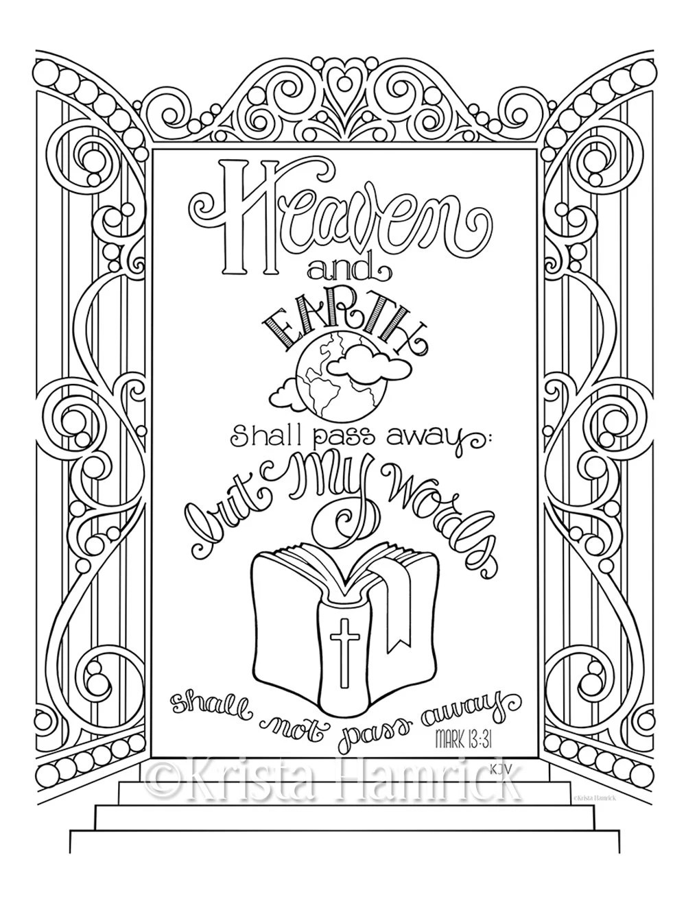 My Words Shall Not Pass Away coloring page 8.5X11 Bible
