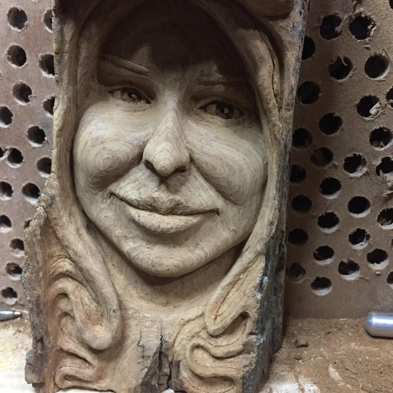 Female Wood Spirit Girl Face Sculpture Handmade