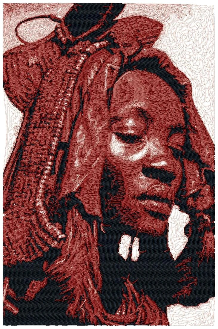 BIG hoop photorealistic AFRICAN Woman Machine Embroidery Design File, digital download