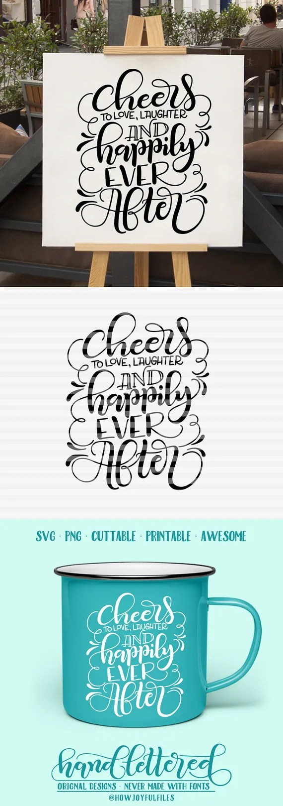 Download Cheers to love laughter and happily ever after SVG PDF