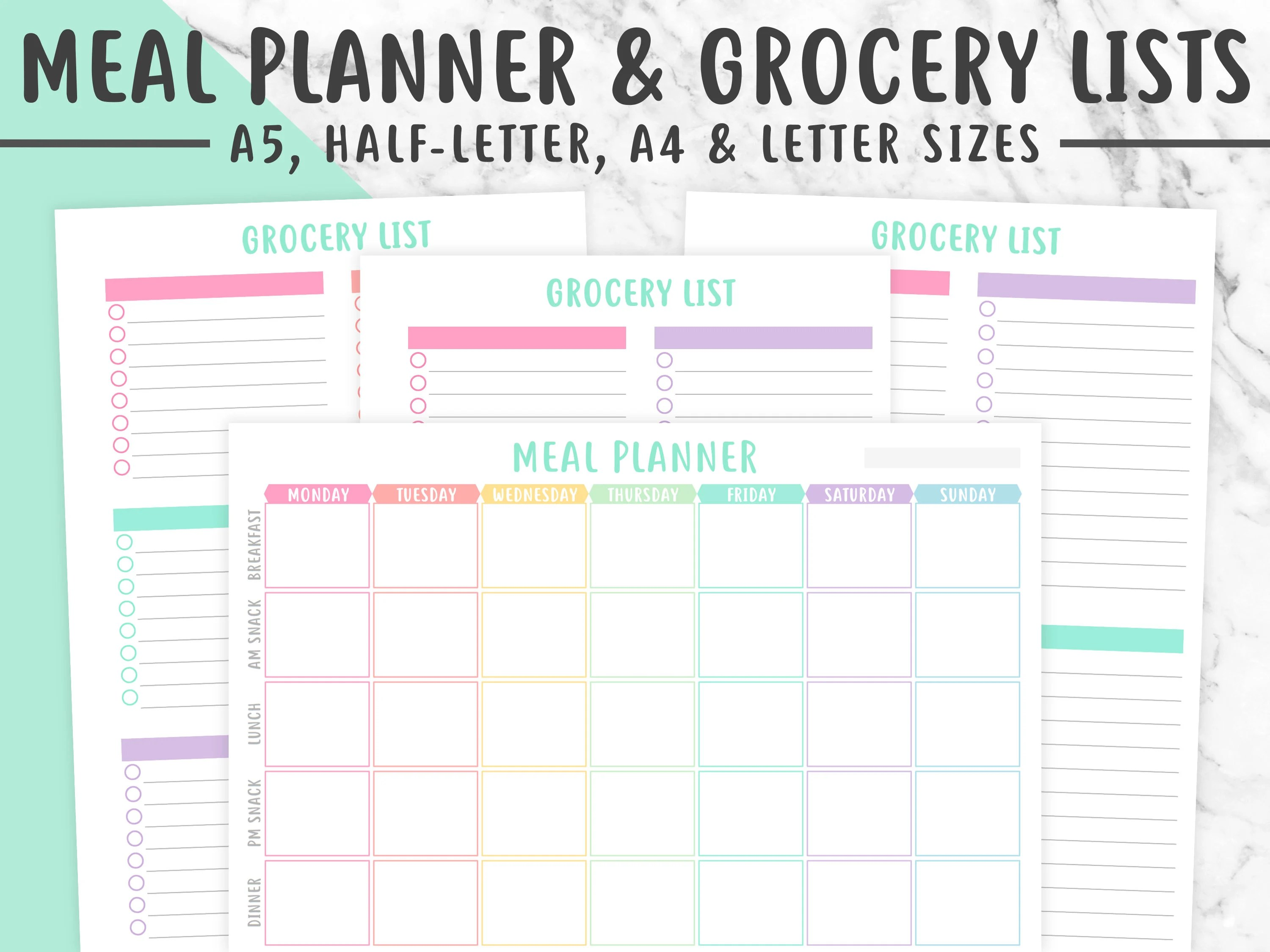 Meal Planner Amp Grocery List Printable Pastel Meal Plan