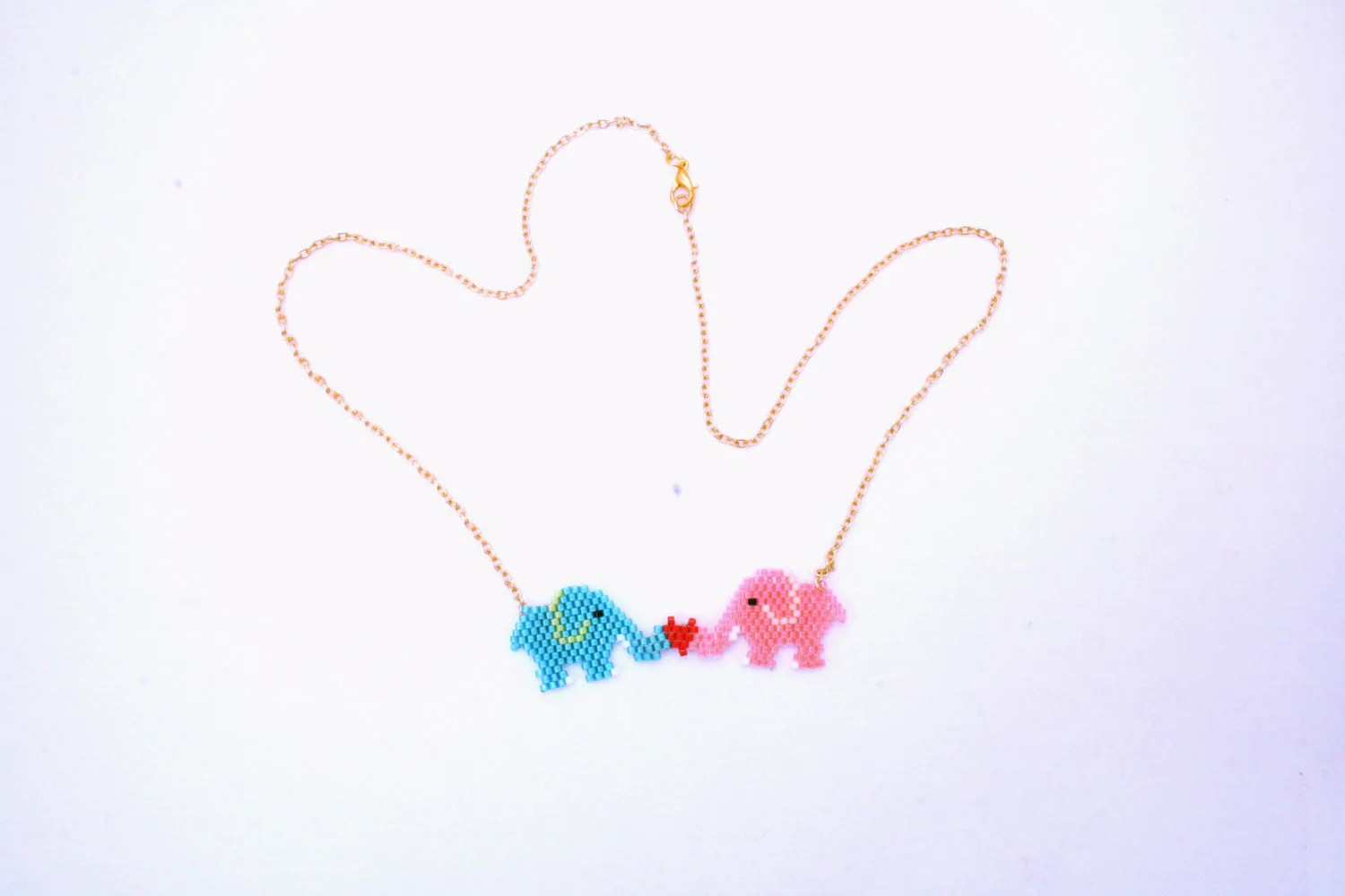 Handmade Unique Beaded Elephant Love Necklace Gifts For Her