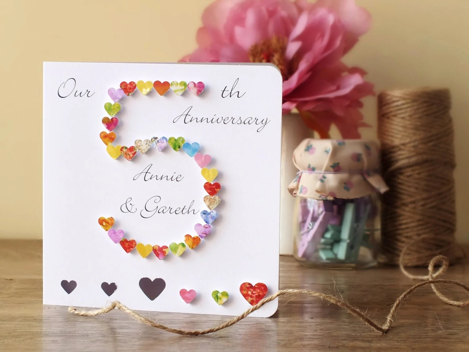 5th Wedding Anniversary Card Personalised 5th Anniversary