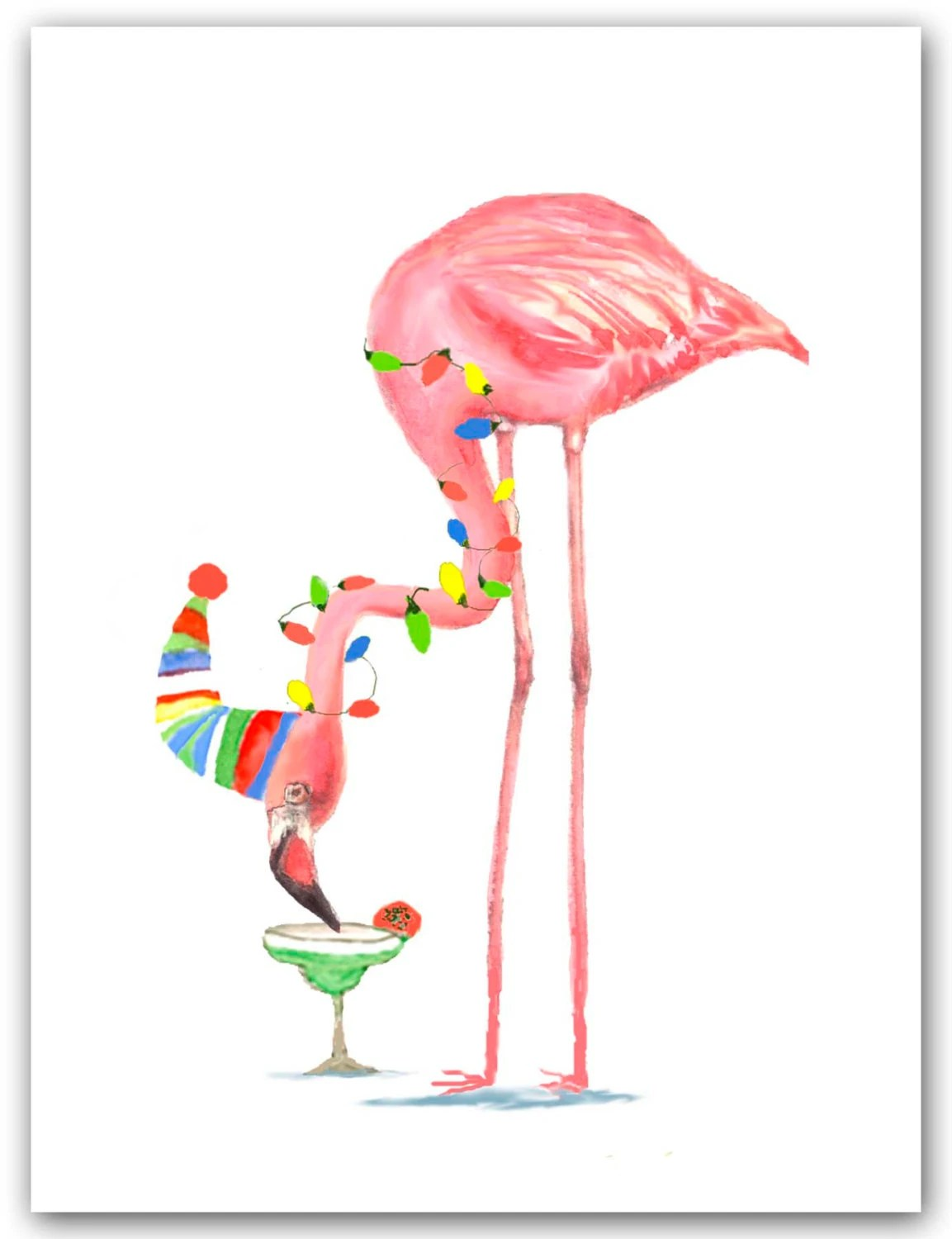 Items Similar To Flamingo Christmas Cards Cocktail Card