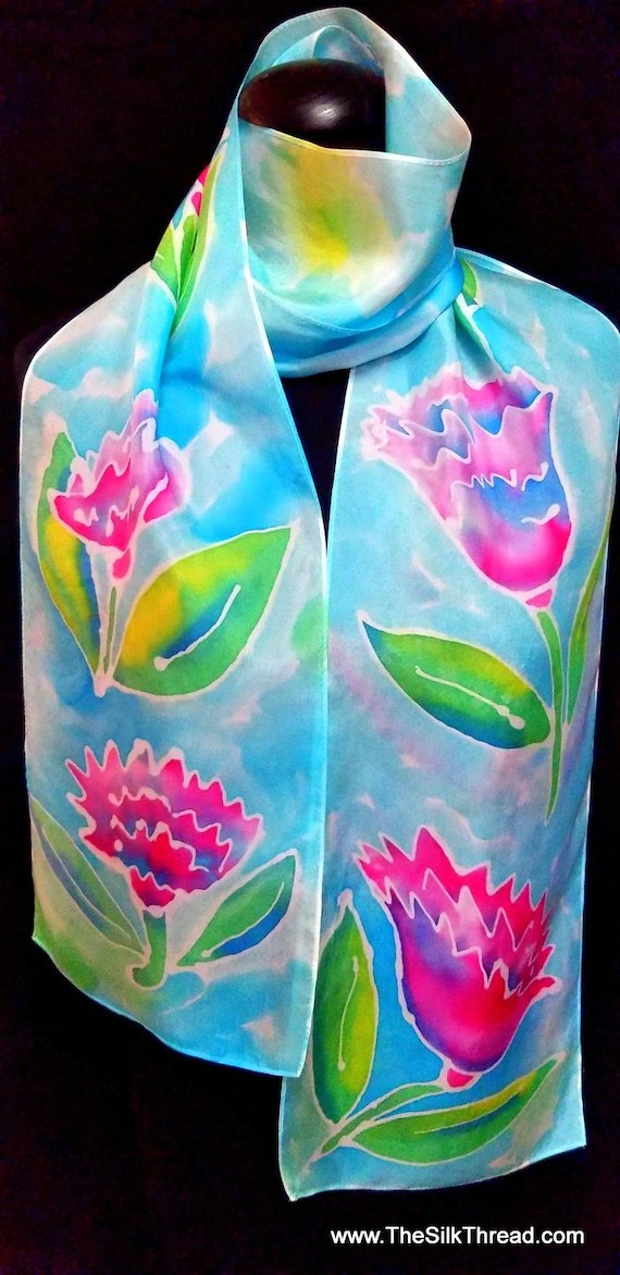 """Silk Scarf,Original Hand Drawn Purple,Lavender Flowers by Artist, 8""""x72"""", Multcolored, One of a Kind, Custom Designs available, free ship US"""