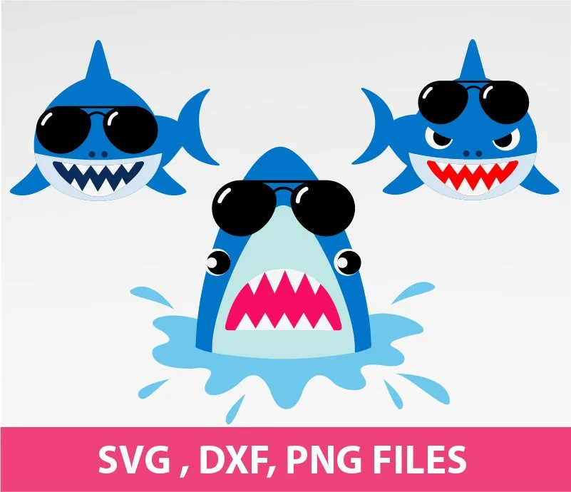 Shark SVG Shark With Sunglasses Svg Jaws Svg DXF PNG