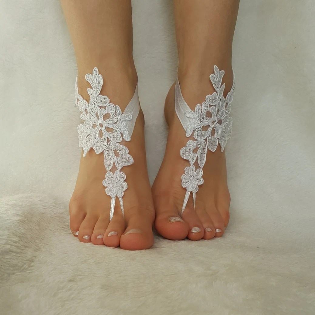Snow White Beach Wedding Barefoot Sandals Embroidered Country