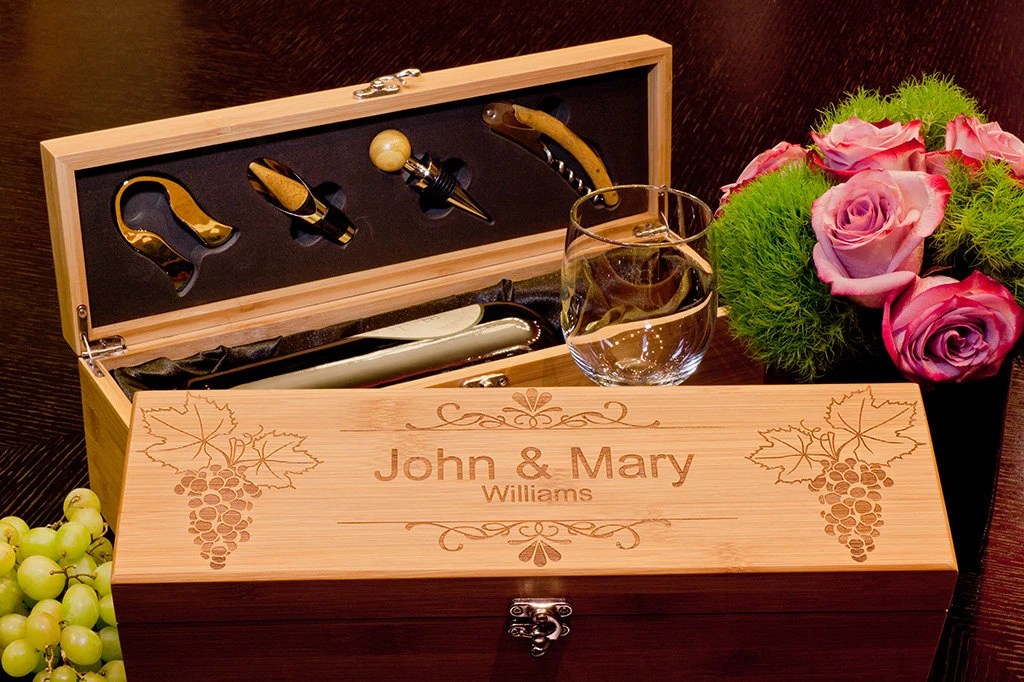 Gift For The Couple Bamboo Wine Box With Tools Custom