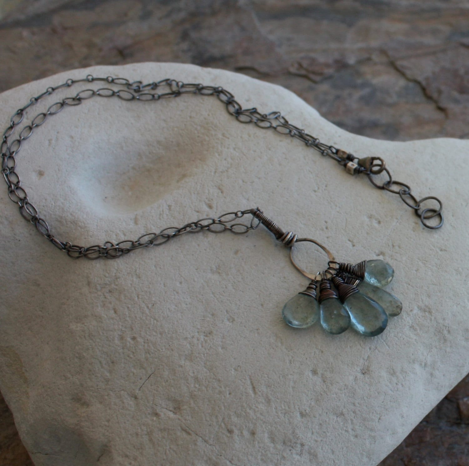 Aquamarine Necklace March Birthday Moss Charm
