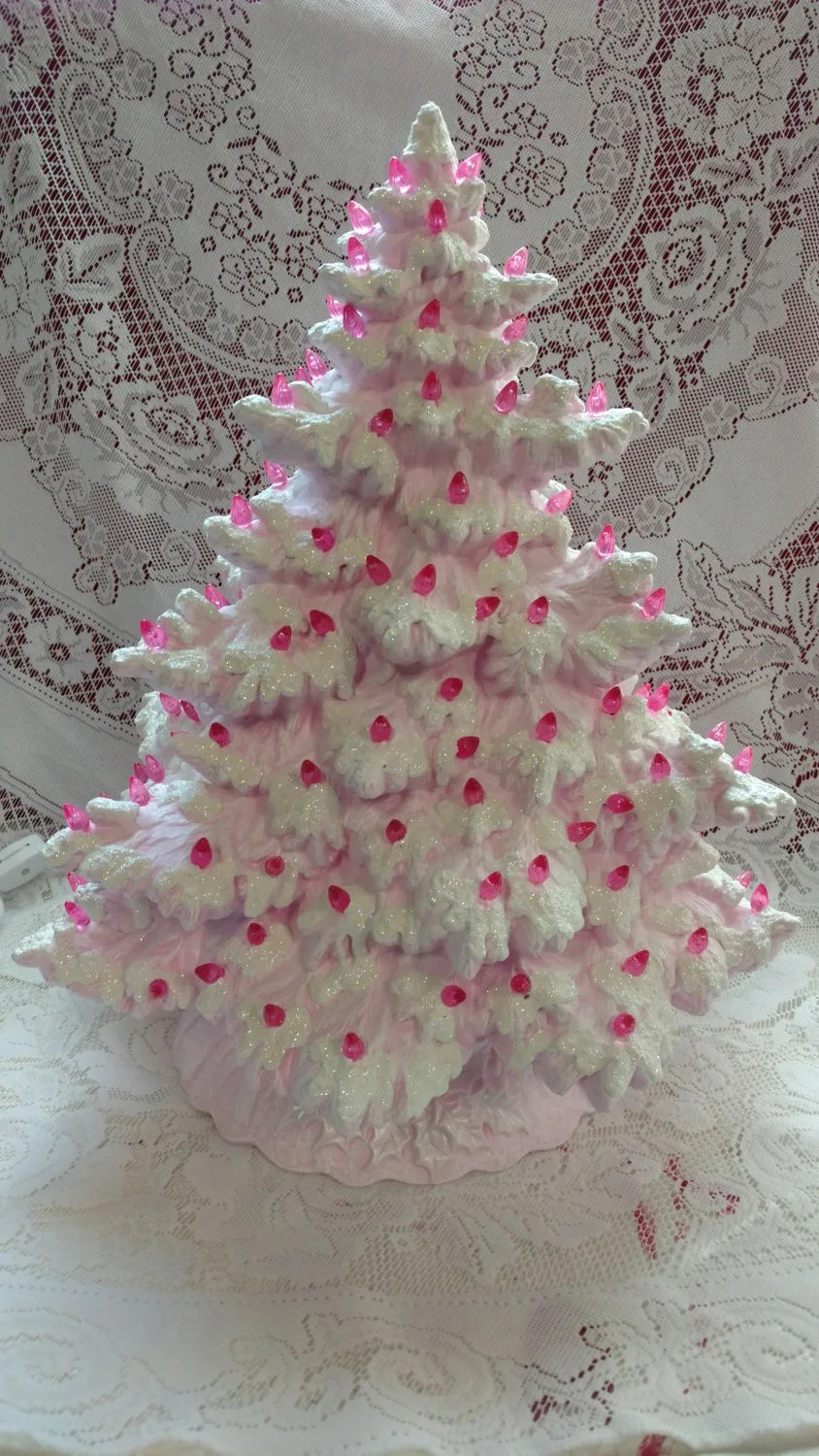 17 Frazier Fir Lighted Ceramic Christmas Tree Pink