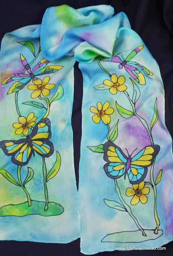 """Hand Painted Silk Scarf, 8""""x 72"""" Butterflies& Dragonflies by Artist, Blue, Purple, Yellows, Original Art,Flowers, OOAK, free USA ship, HP28A"""