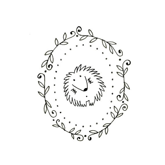 Hedgehog Embroidery Pattern Printable Woodland Animal Digital