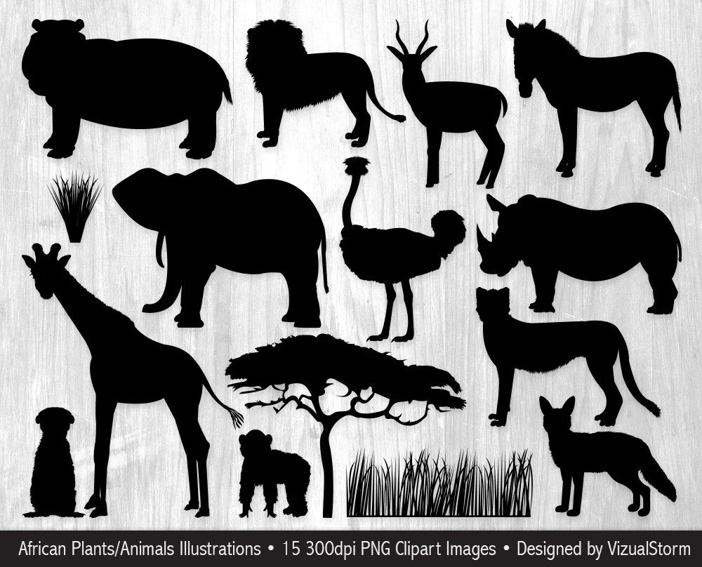 brand new african animal silhouettes clipart safari jungle animals sb05 [ 1000 x 808 Pixel ]