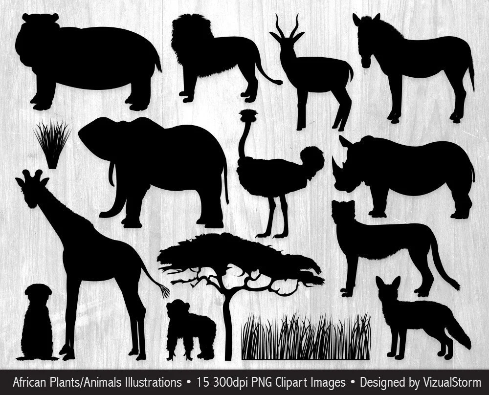 hight resolution of brand new african animal silhouettes clipart safari jungle animals sb05