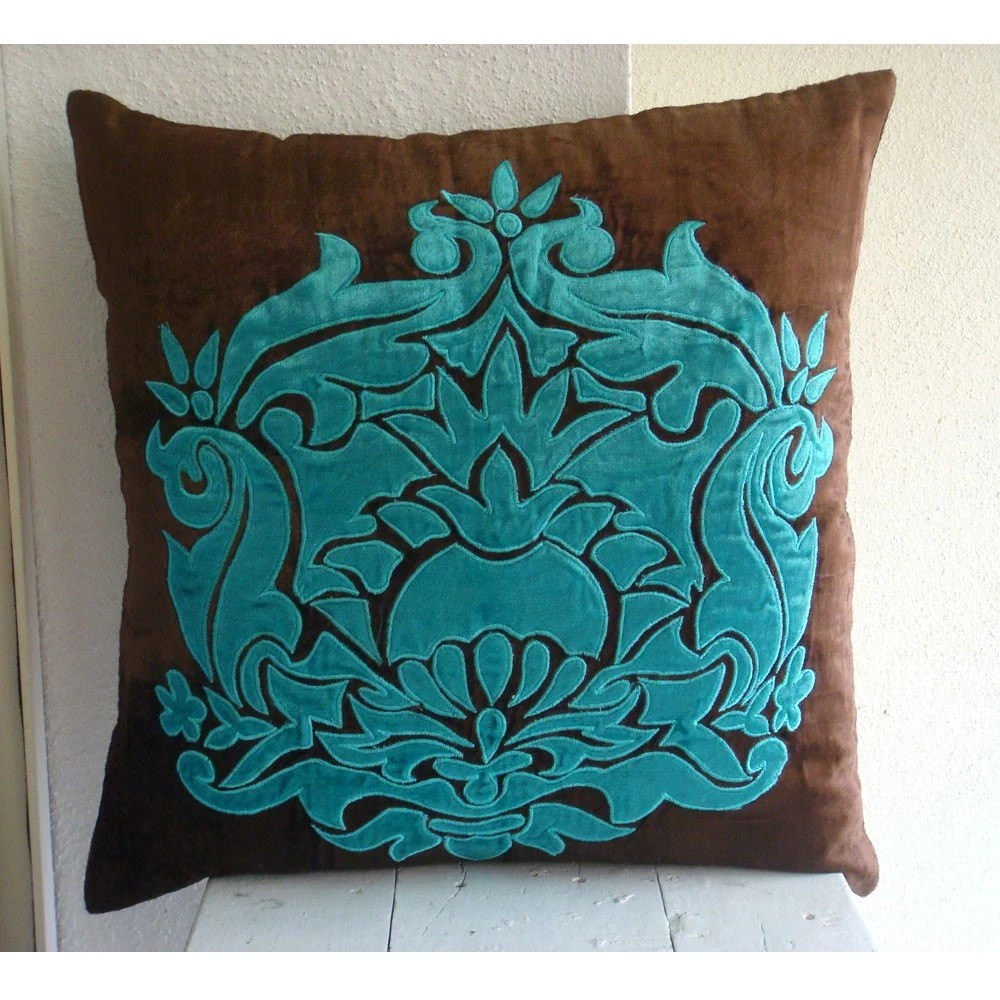 Applique Damask Throw Pillow Covers 20x20 Inches Velvet