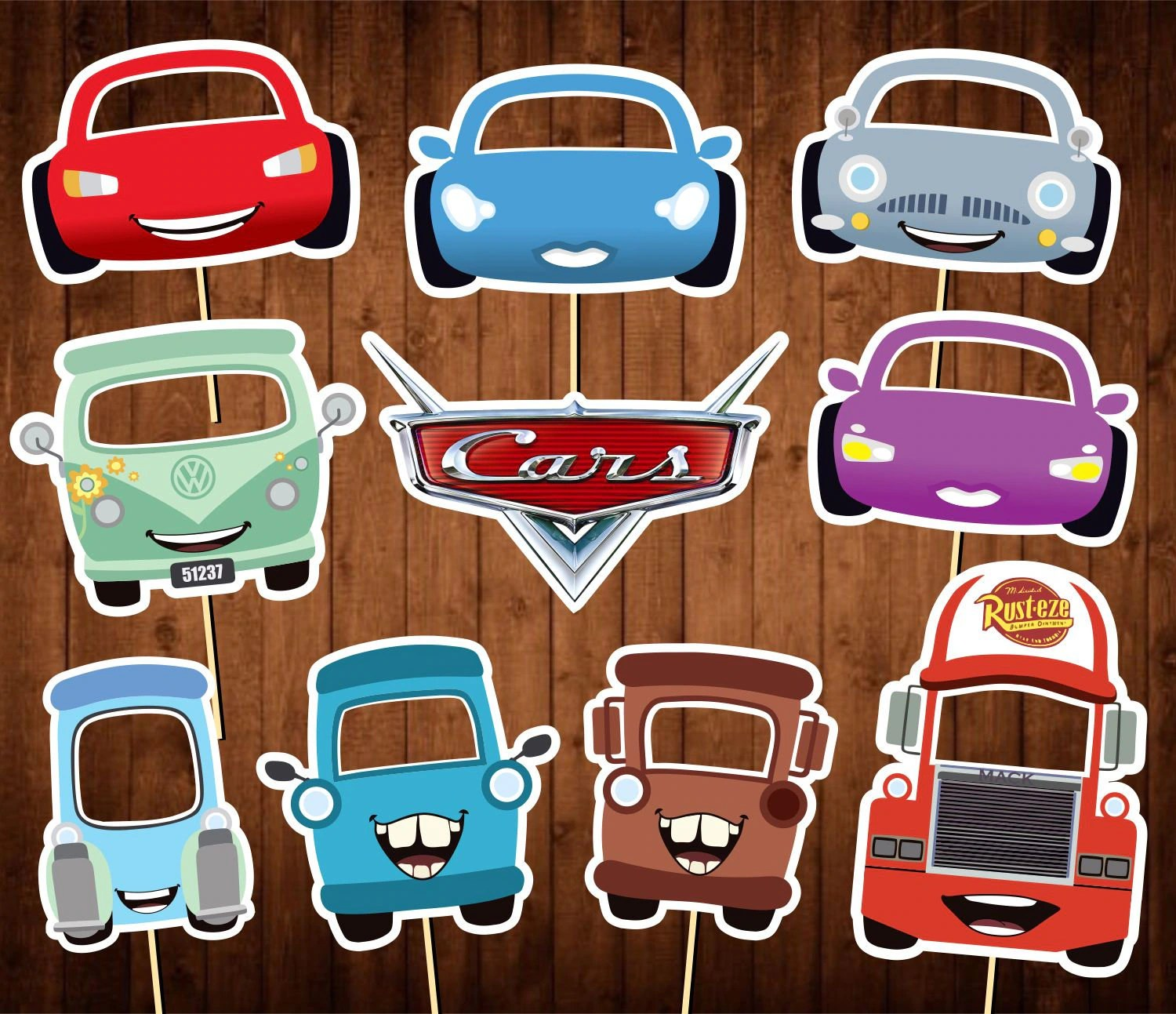 Printable Cars Photo Booth Props Disney Cars Party Masks
