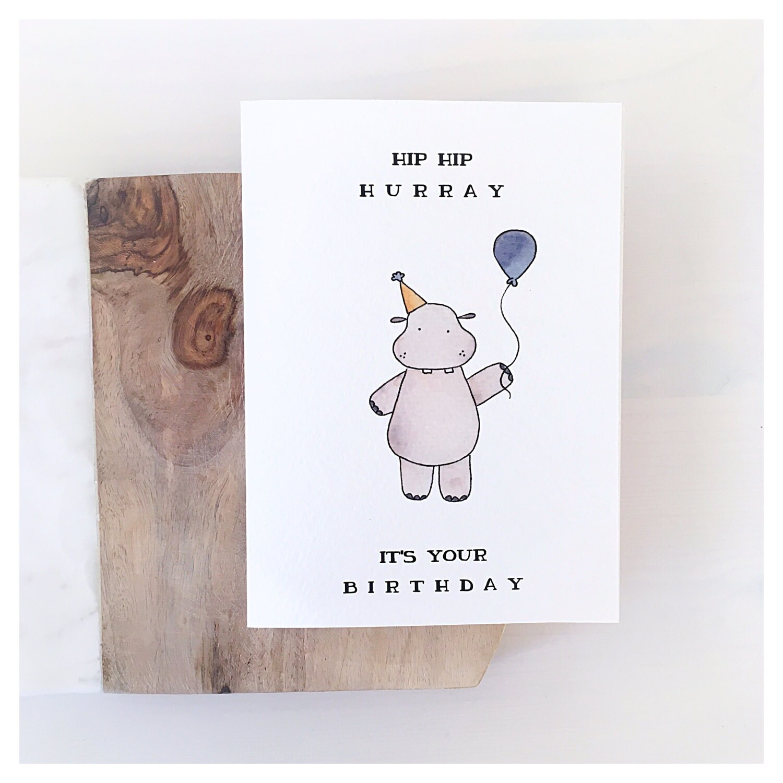 Hippo Card Birthday Card Birthday Greeting Card Funny