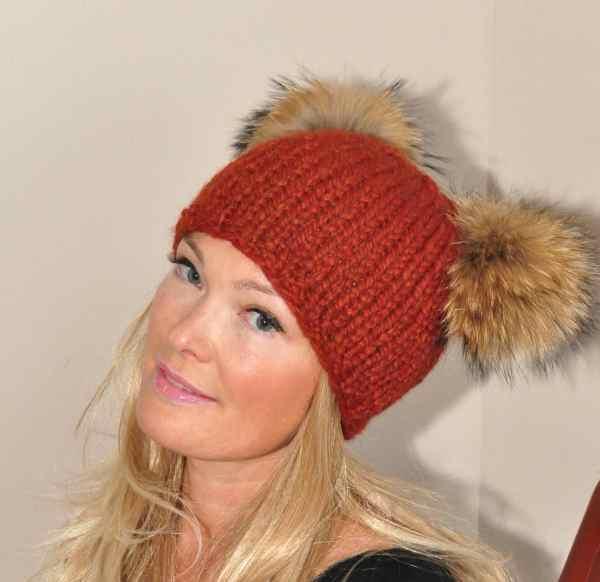 17aff0fbc4a Double Pompom Hat Black Beanie With 2 Fur Pom. Fur Pompom Beanie Kylie  Jenner Hat 2 Bobbles Choose