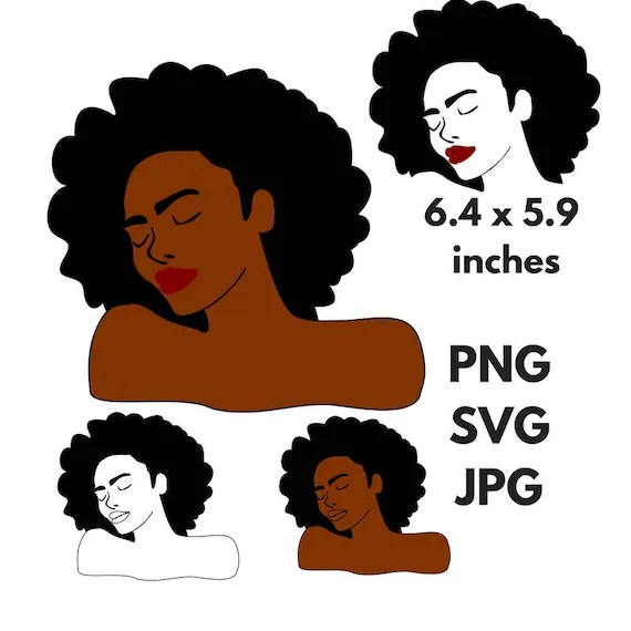 black woman afro silhouette svg