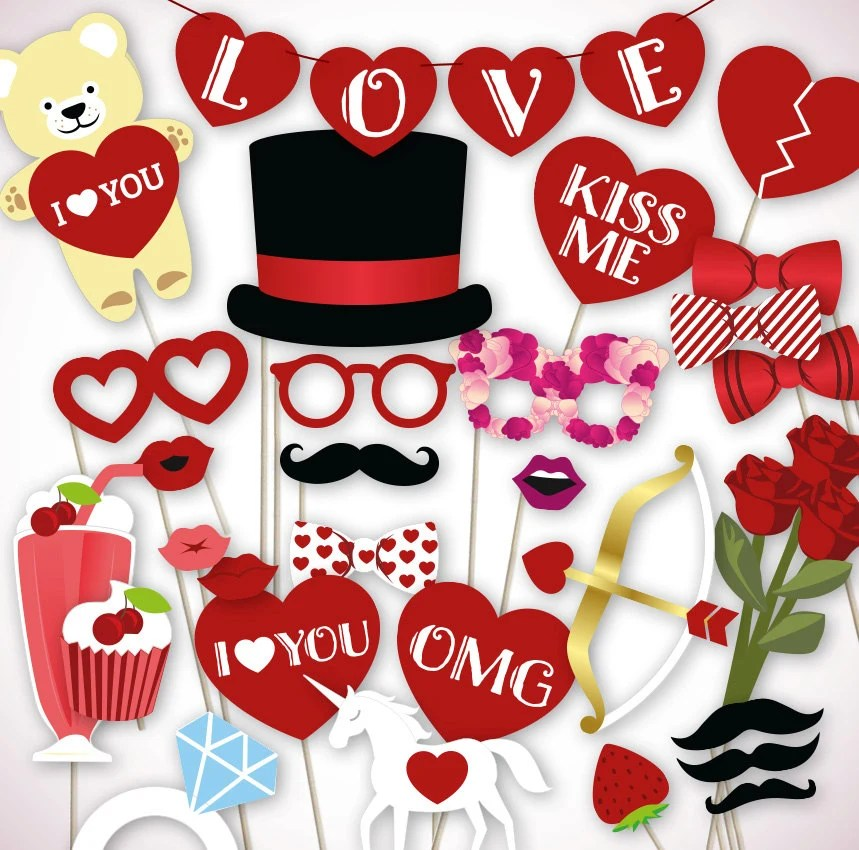 Valentines Photo Booth Props Printable Pdf File For Your Diy