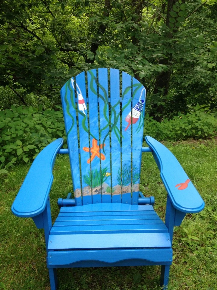 Hand Painted Adirondack Chair and Ottomans